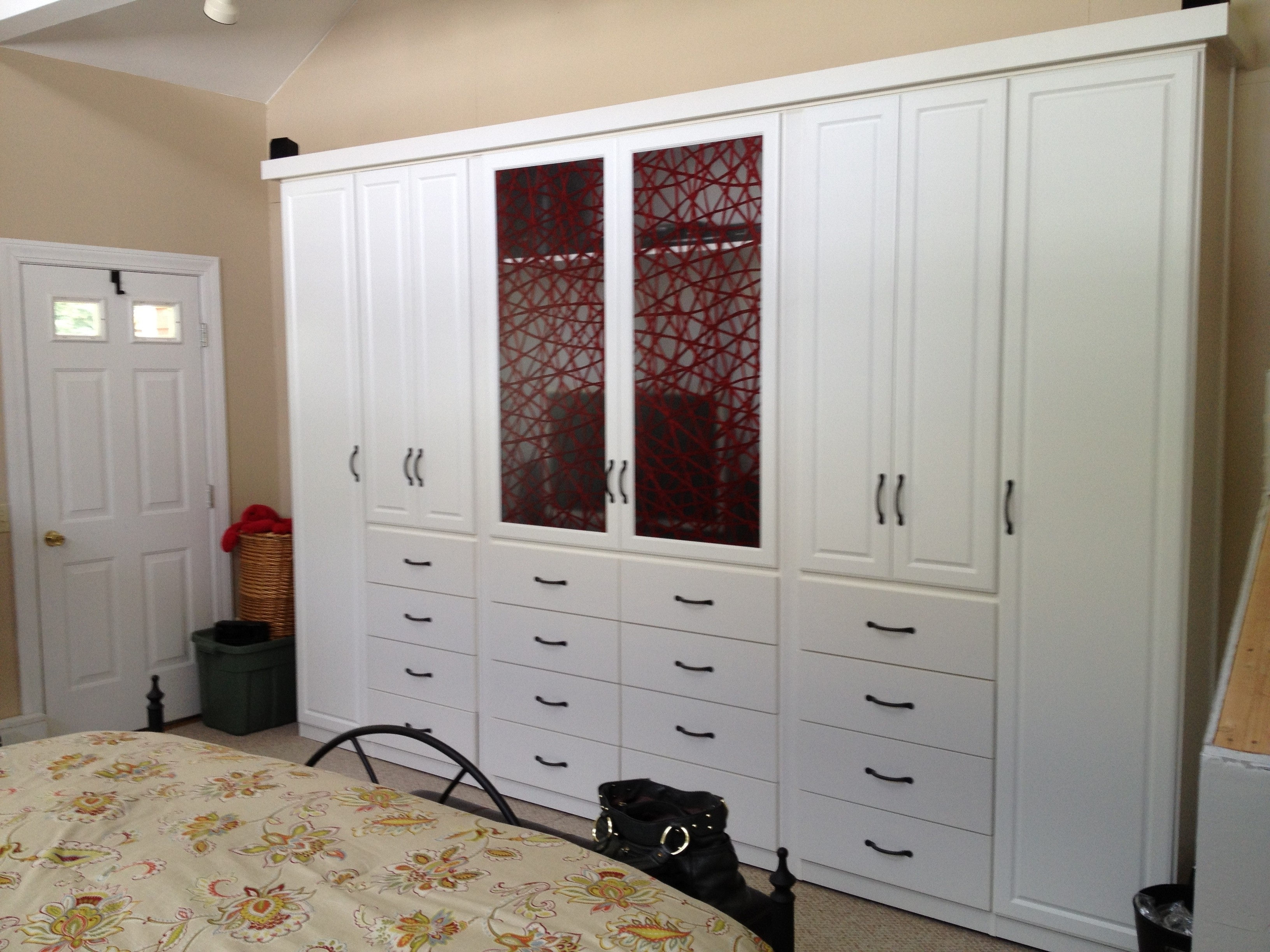 White Stained Wooden Wardrobe Having Mani Drawers And Mirror Also Intended For Preferred White Wardrobes With Drawers And Mirror (View 8 of 15)