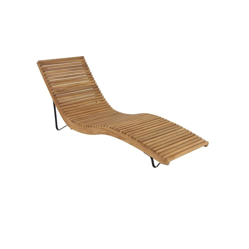 White Teak Wood Slanted And Curved Chaise Lounge Chair 77843 – The For Most Up To Date Wood Chaise Lounges (View 8 of 15)