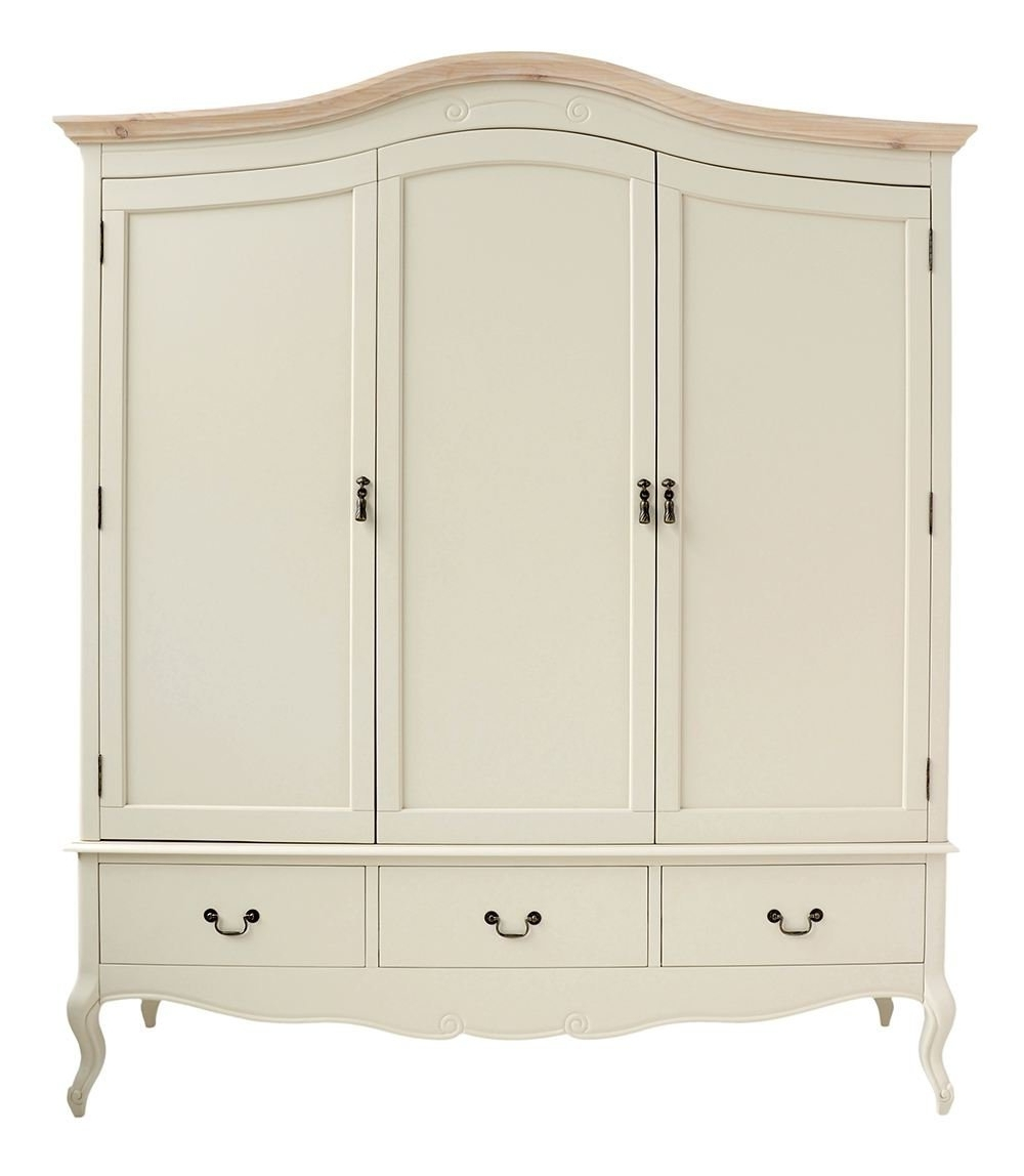 White Three Door Wardrobes Intended For Newest Juliette Shabby Chic Champagne Triple Wardrobe (View 12 of 15)