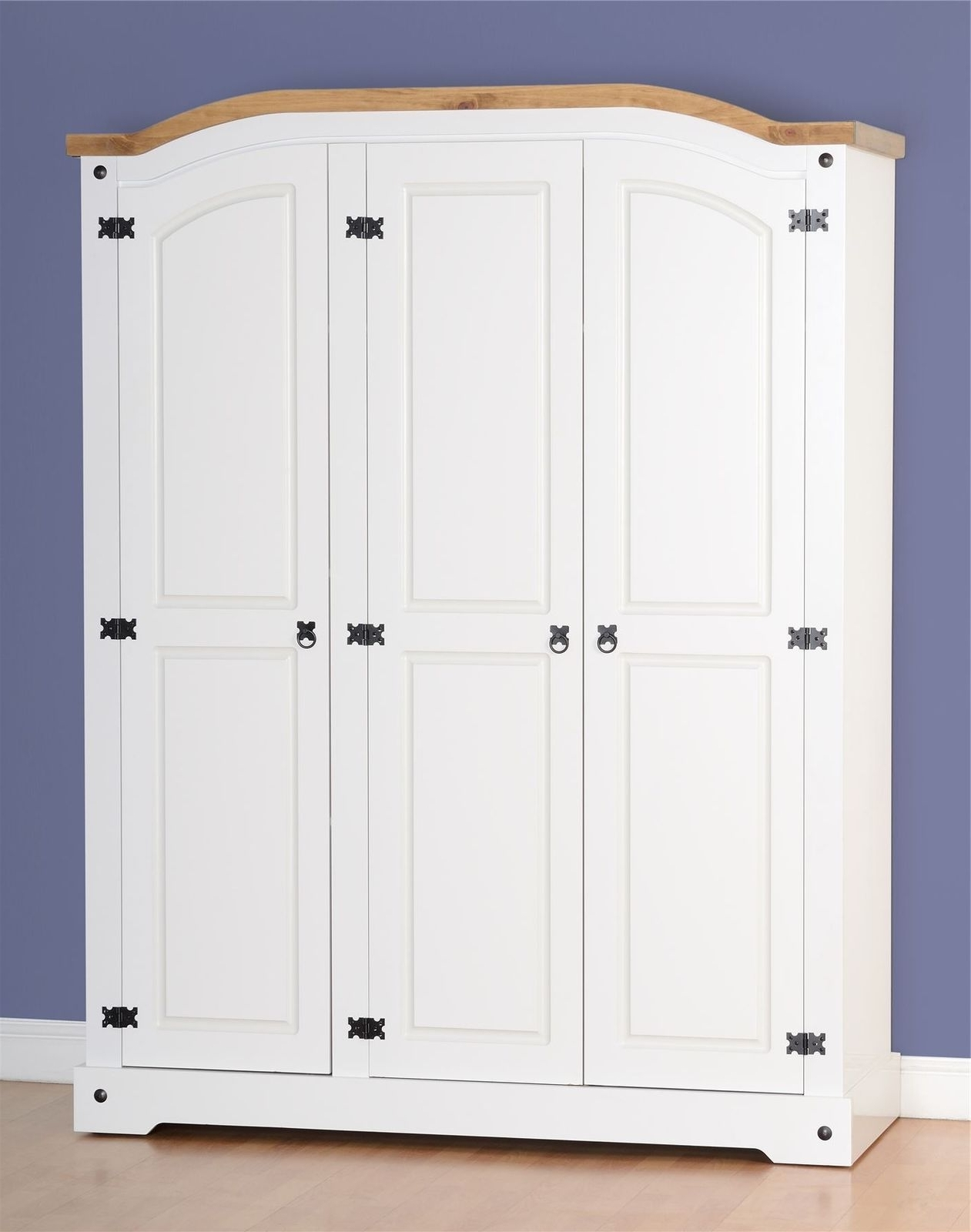 White Three Door Wardrobes Throughout Well Liked Corona 3 Door Wardrobe – White Distressed Waxed Pine (View 6 of 15)