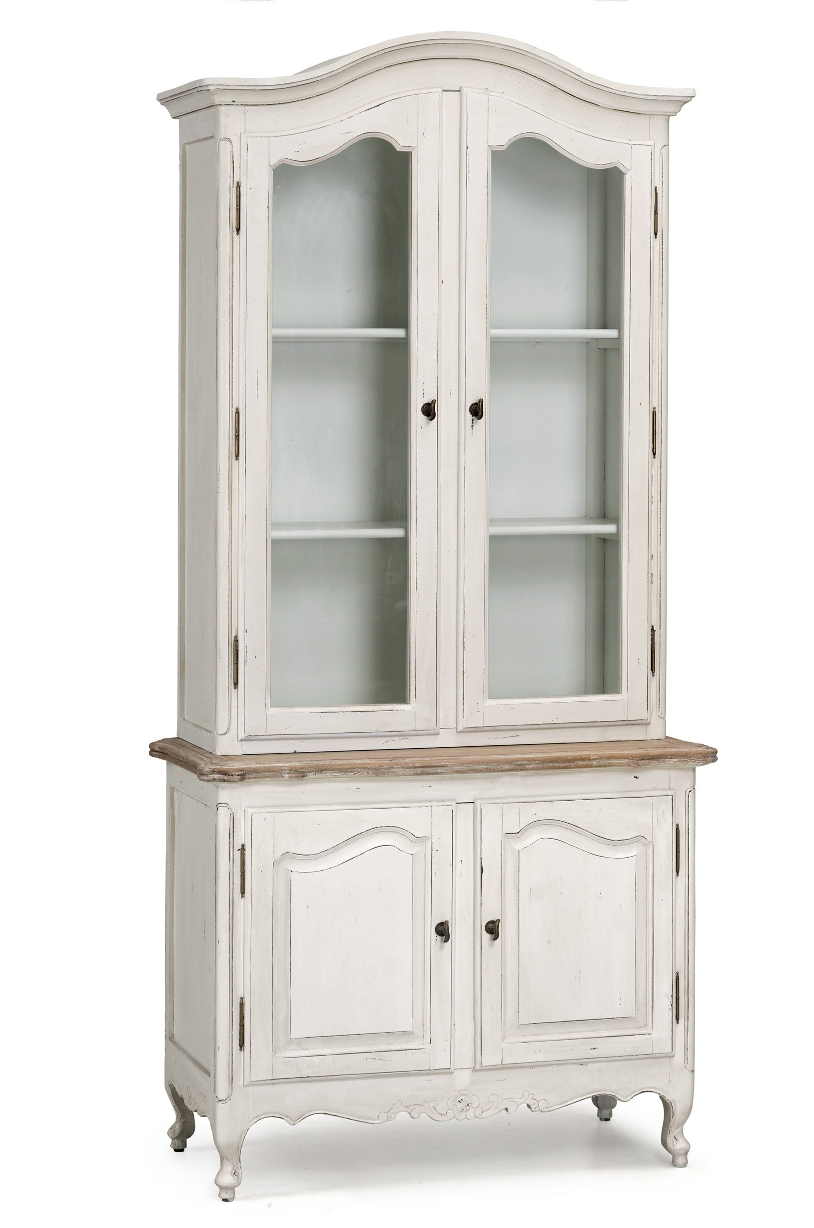 White Vintage Wardrobes Within Famous French Provincial Vintage Glass Display Buffet And Hutch Cupboard (View 11 of 15)
