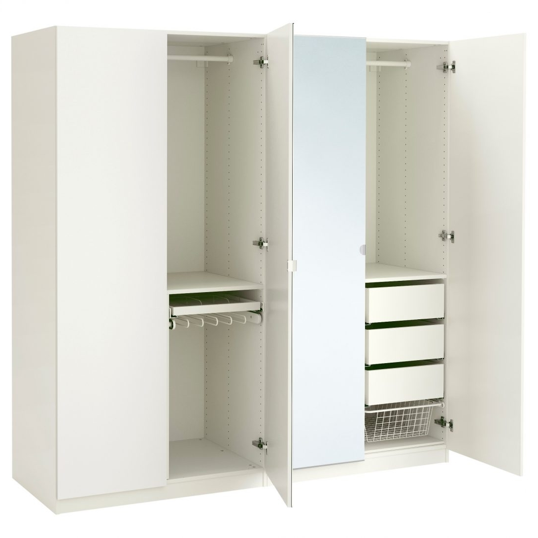 White Wardrobe With Drawers And Mirror 3 Door Large Wooden This Intended For 2018 Large White Wardrobes With Drawers (View 14 of 15)