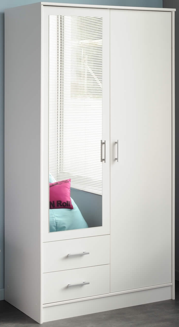 White Wardrobe With Mirror Cheap Auli Glass Doors Sliding Gloss With Regard To 2017 Cheap Wardrobes With Mirror (View 9 of 15)