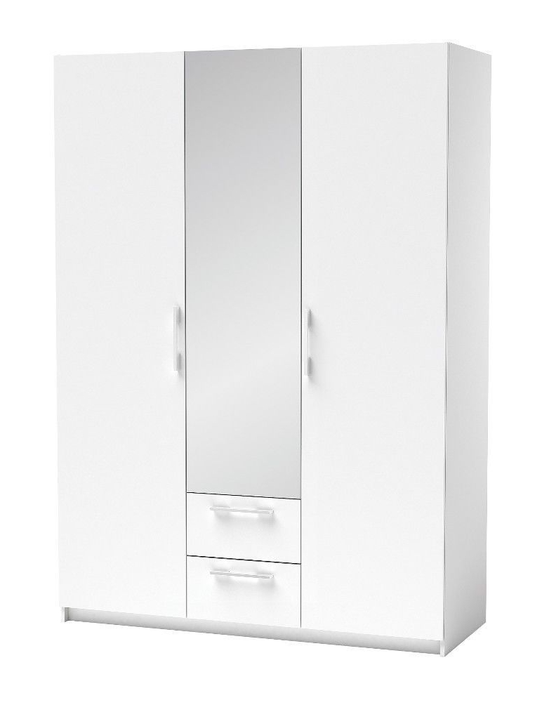 White Wardrobes With Drawers And Mirror Intended For Well Liked Solid White Wardrobe 3 Door 2 Drawers Mirror In The Middle (View 10 of 15)