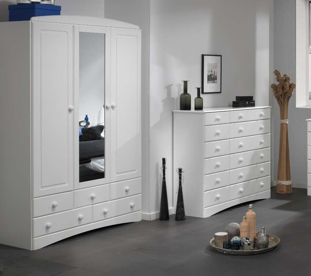 White Wardrobes With Drawers And Mirror With Trendy Ikea 3 Door White Wardrobe With Mirror Bergen Doors Armoire (View 13 of 15)