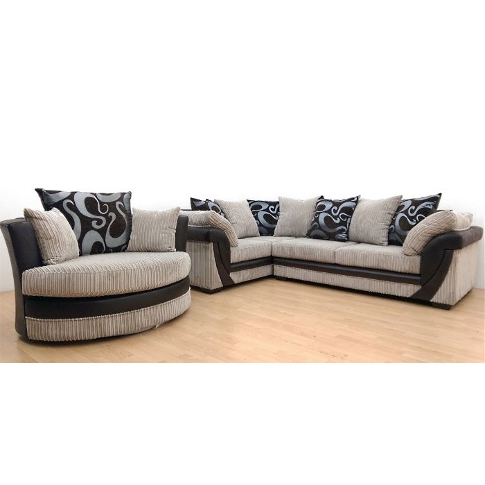 Why Pay More For A Lush Corner Sofa Rhf + Swivel Chair Cream With Regard To