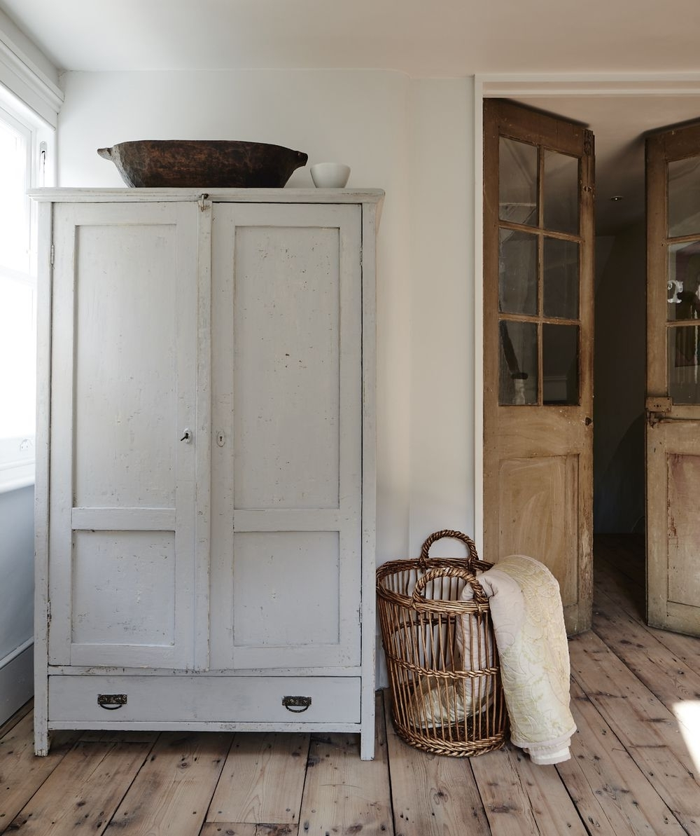 Wicker Armoire Wardrobes Pertaining To Most Up To Date Wooden Armoire / Cabinet, Wicker Basket, Wooden French Doors (View 11 of 15)
