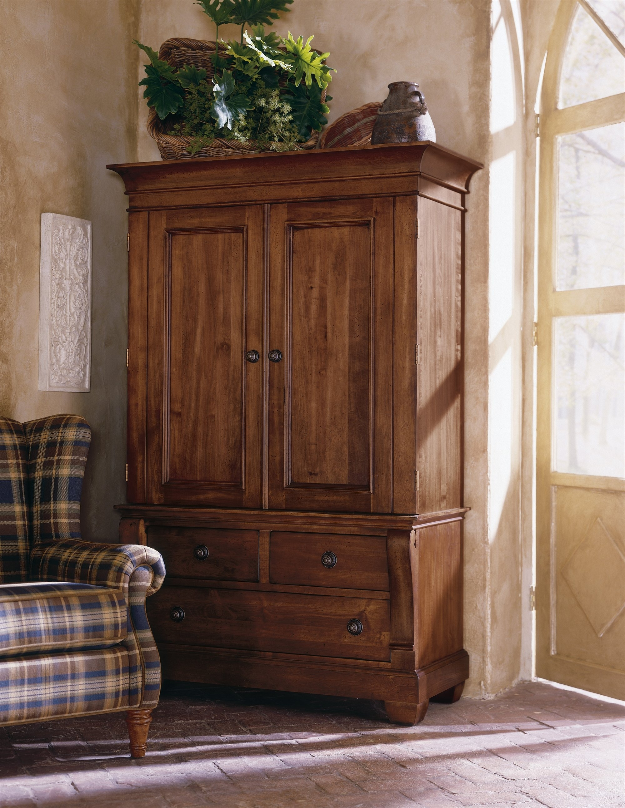 Wicker Armoire Wardrobes Regarding Latest Bedroom: Antique Interior Storage Design With Wardrobe Armoire (View 13 of 15)