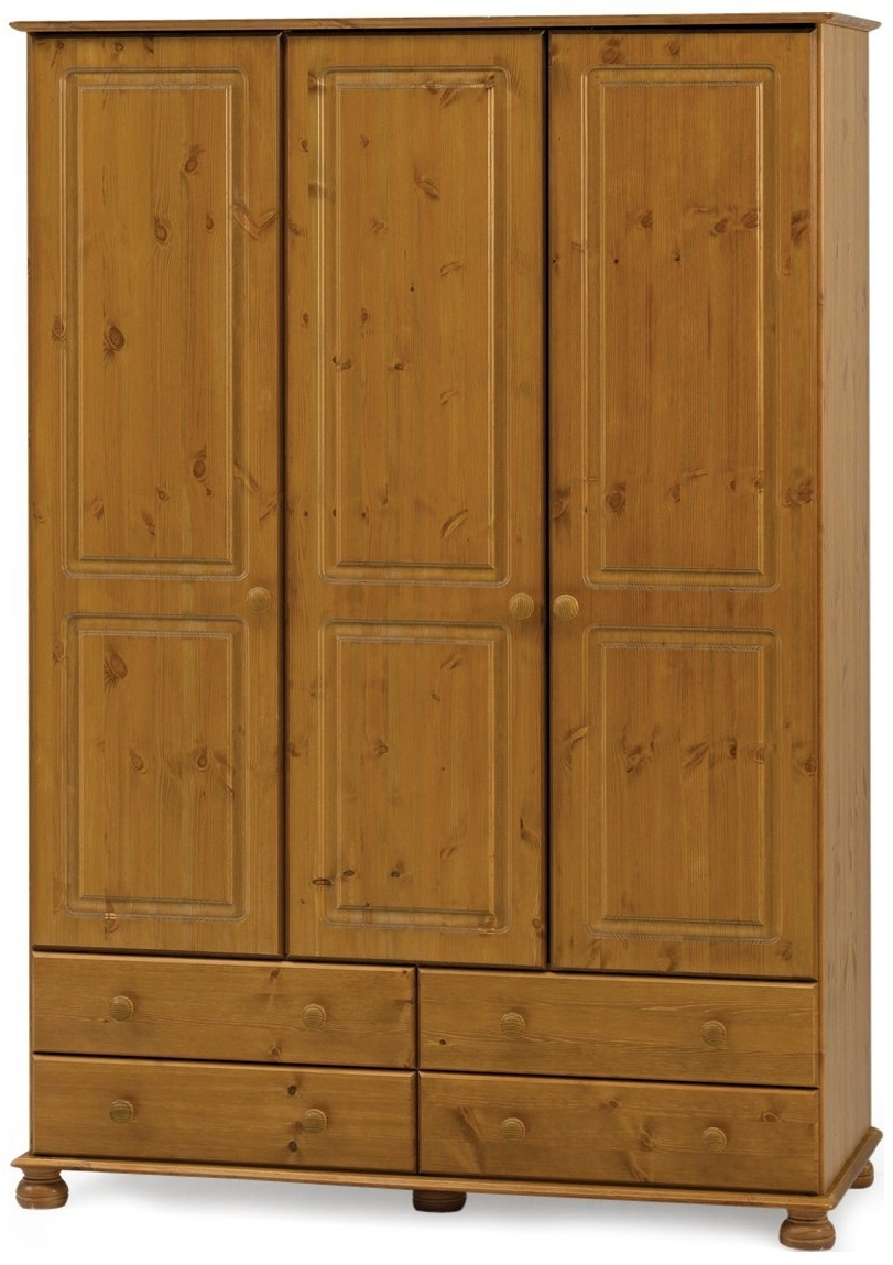 Widely Used 3 Door Pine Wardrobes For Steens Richmond 3 Door Pine Wardrobe: Amazon.co (View 15 of 15)