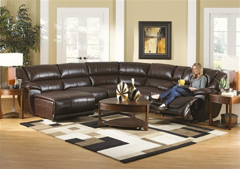 Widely Used 6 Piece Leather Sectional Sofas Pertaining To Avenue 6 Piece Reclining Sectional In Java Leathercatnapper (View 13 of 15)