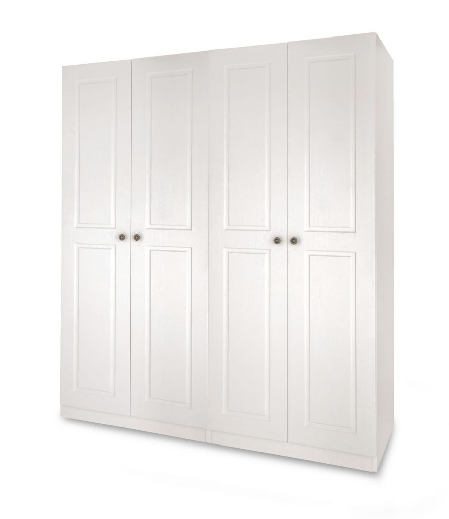 Widely Used Austin White 4 Door Wardrobe W160Cm X D52Cm X H187Cm – Sc Furniture Pertaining To 4 Door White Wardrobes (View 15 of 15)
