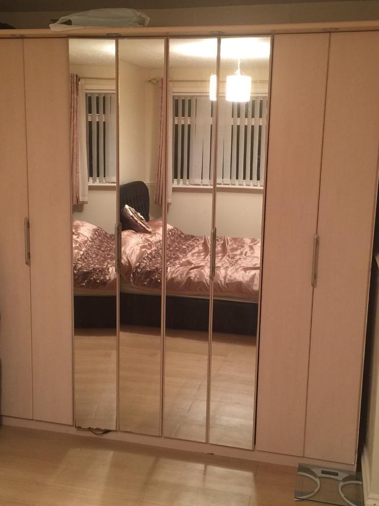 Widely Used Birch Wood, 4 Door Mirrored Wardrobe With Lights Above Each Door Pertaining To 4 Door Mirrored Wardrobes (View 11 of 15)