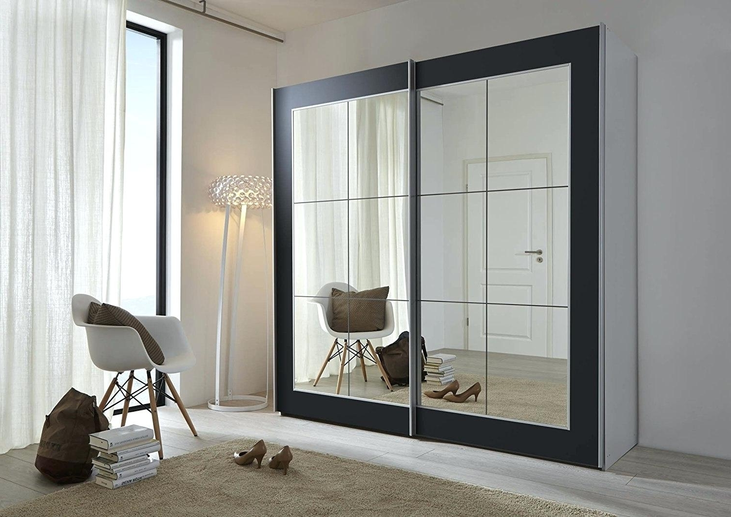 Widely Used Black Wardrobes With Mirror Intended For Decoration: Black Sliding Door Wardrobes (View 15 of 15)
