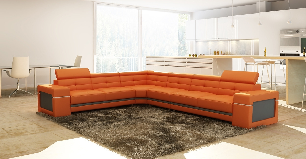 Widely Used Casa 5072 Modern Orange And Grey Leather Sectional Sofa With Regard To Orange Sectional Sofas (View 6 of 10)