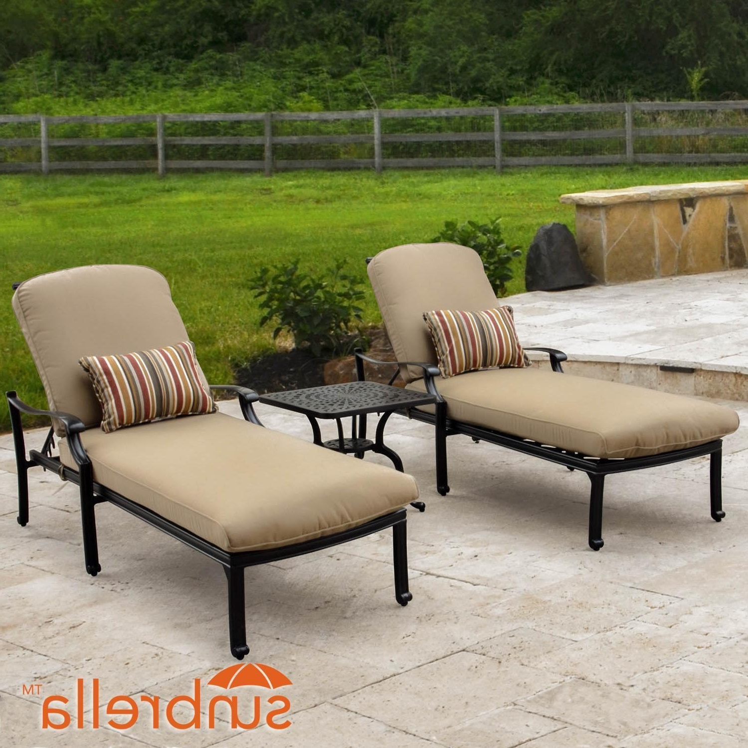 Widely Used Chaise Lounges For Patio In Bocage 3 Piece Cast Aluminum Patio Chaise Lounge Set W/ Sunbrella (View 14 of 15)