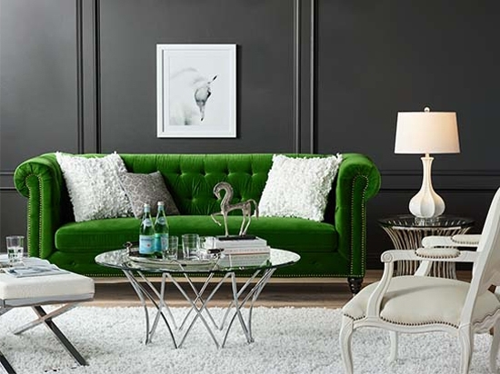 Widely Used Green Sofa Chairs Pertaining To Emerald Green Statement Sofa With White Accent Chairs And Area Rug (View 10 of 10)