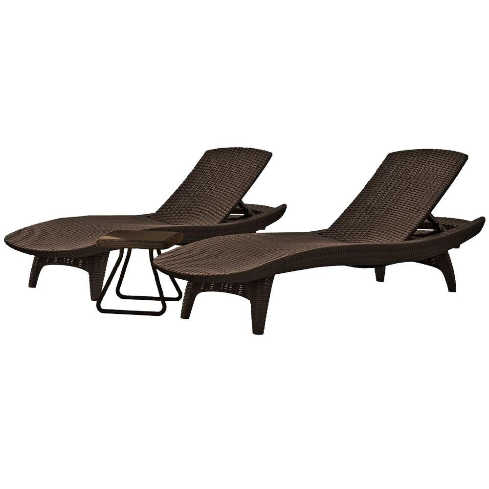 Widely Used Keter Pacific Whiskey Brown All Weather Adjustable Resin Patio Within Resin Chaise Lounges (View 15 of 15)