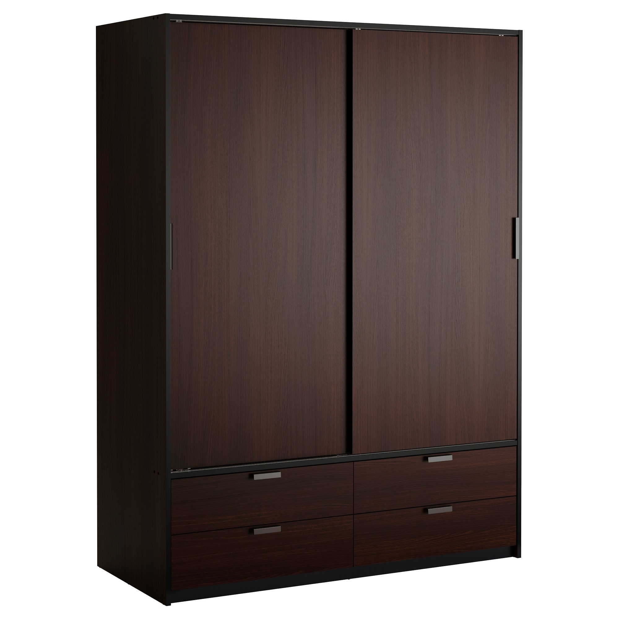 Widely Used Possible Wardrobe Solution – Trysil Wardrobe W Sliding Doors/4 Pertaining To Dark Brown Wardrobes (View 4 of 15)