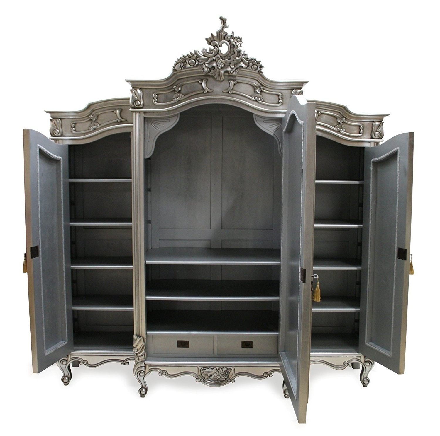 Widely Used Silver Wardrobes With French Style Furniture 3 Door Mirrored Wardrobe Silver: Amazon (View 15 of 15)