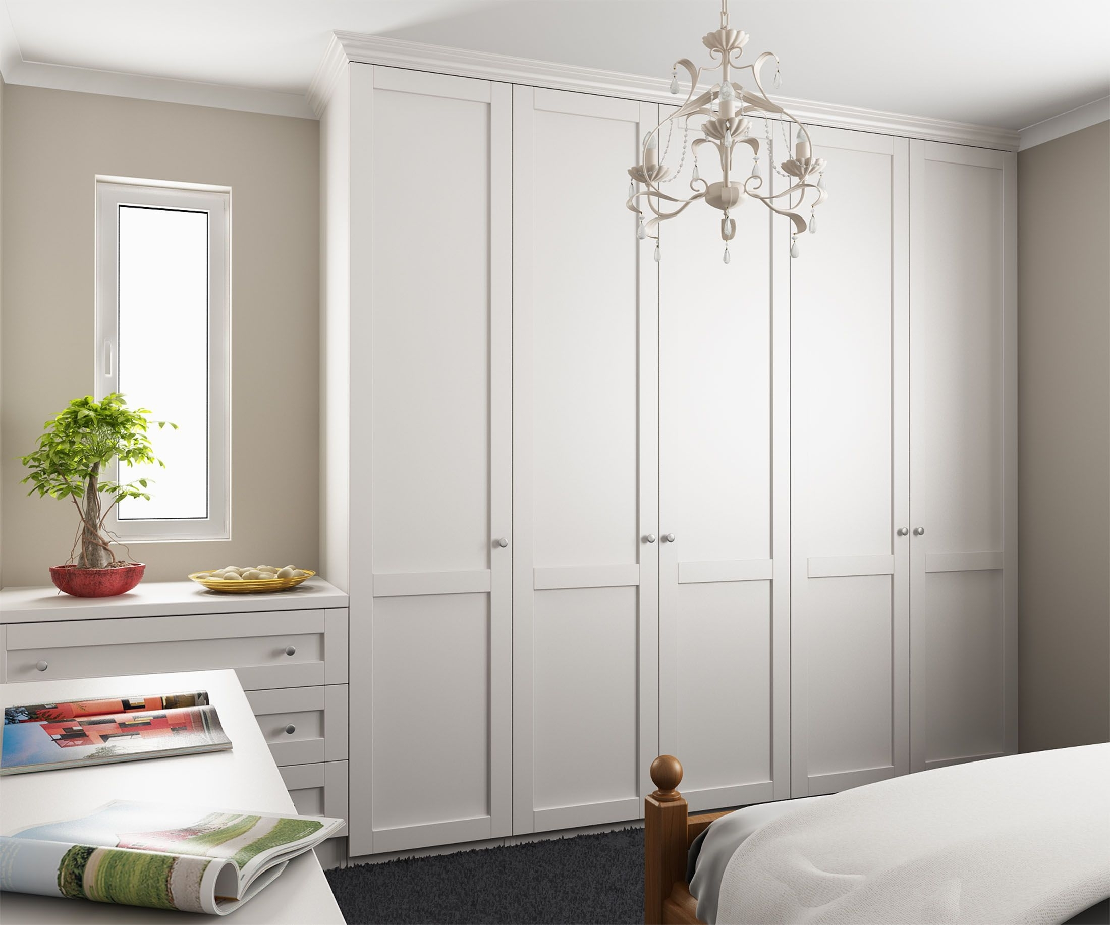 Widely Used Tall White Wardrobes For Tall Wardrobes Along Left Wall, Dressing Table/drawers With Mirror (View 14 of 15)