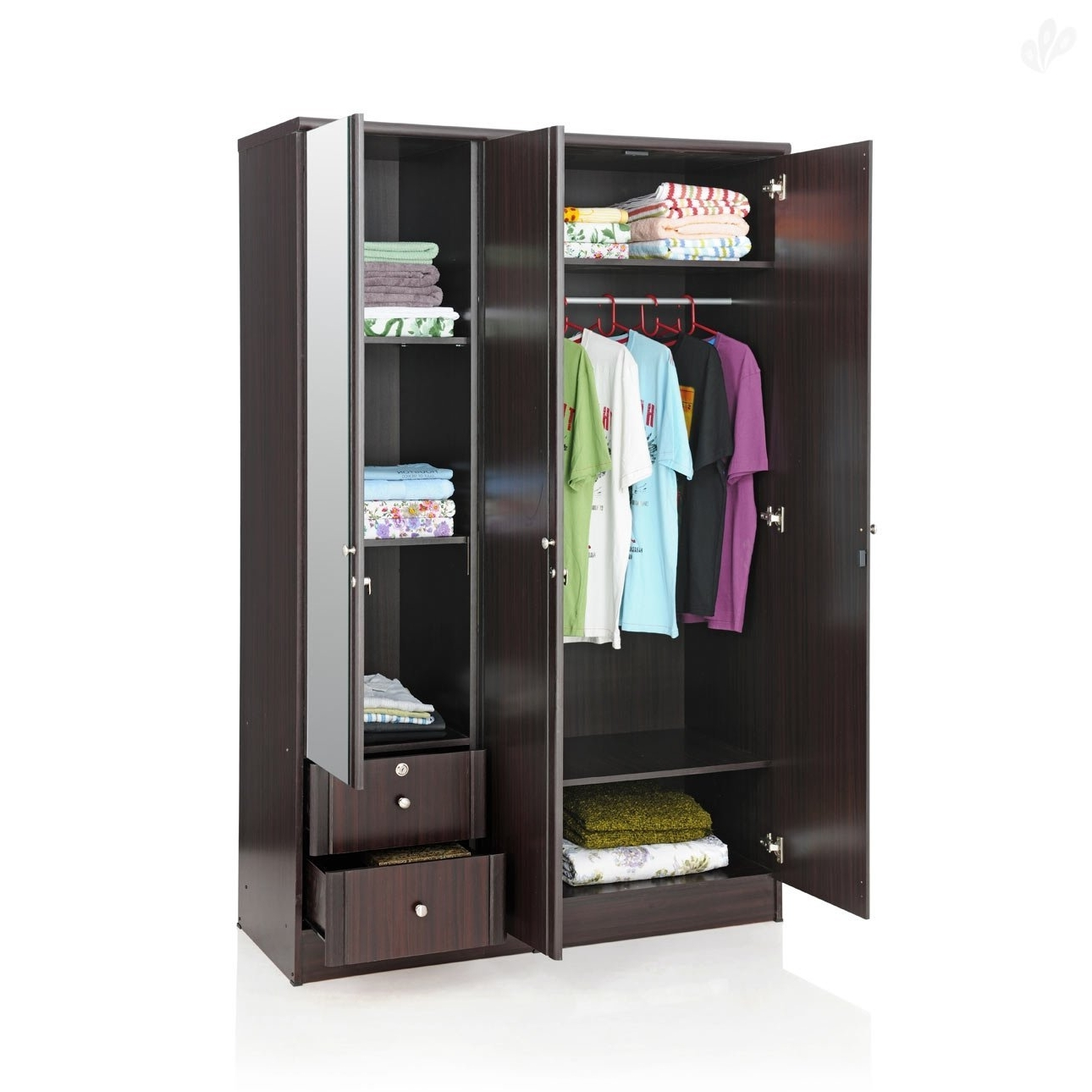 Widely Used Three Door Wardrobes With Mirror Intended For Royal Oak Berlin Three Door Wardrobe With Mirror (brown): Amazon (View 5 of 15)