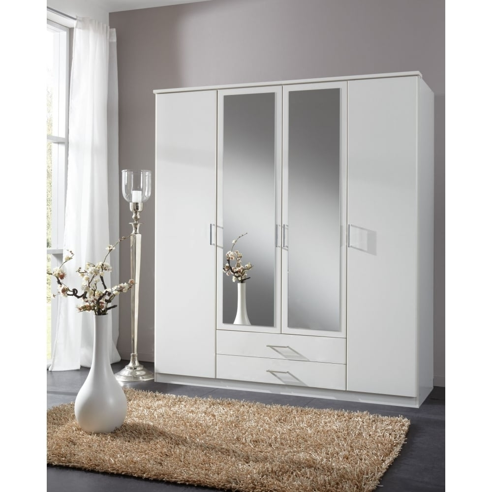 Widely Used White Mirrored Wardrobes Regarding Alpine White 4 Door 2 Draw Wardrobe 180cm (View 15 of 15)