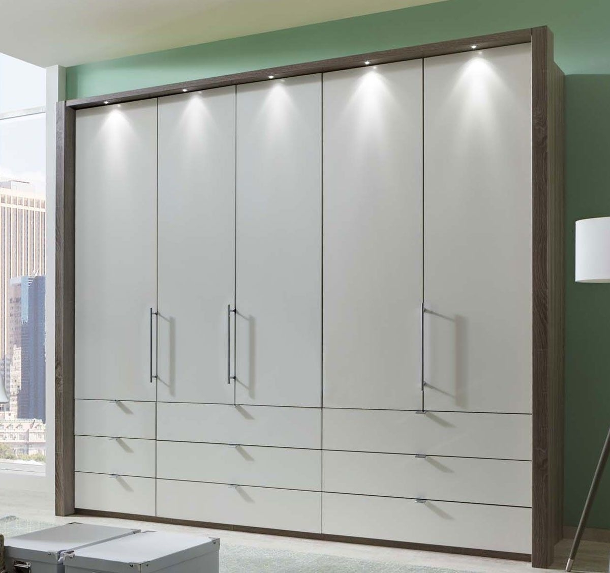 Widely Used Wiemann Loft 5 Door Wardrobe With 9 Drawers With Bi Fold Panorama For 5 Door Wardrobes (View 14 of 15)