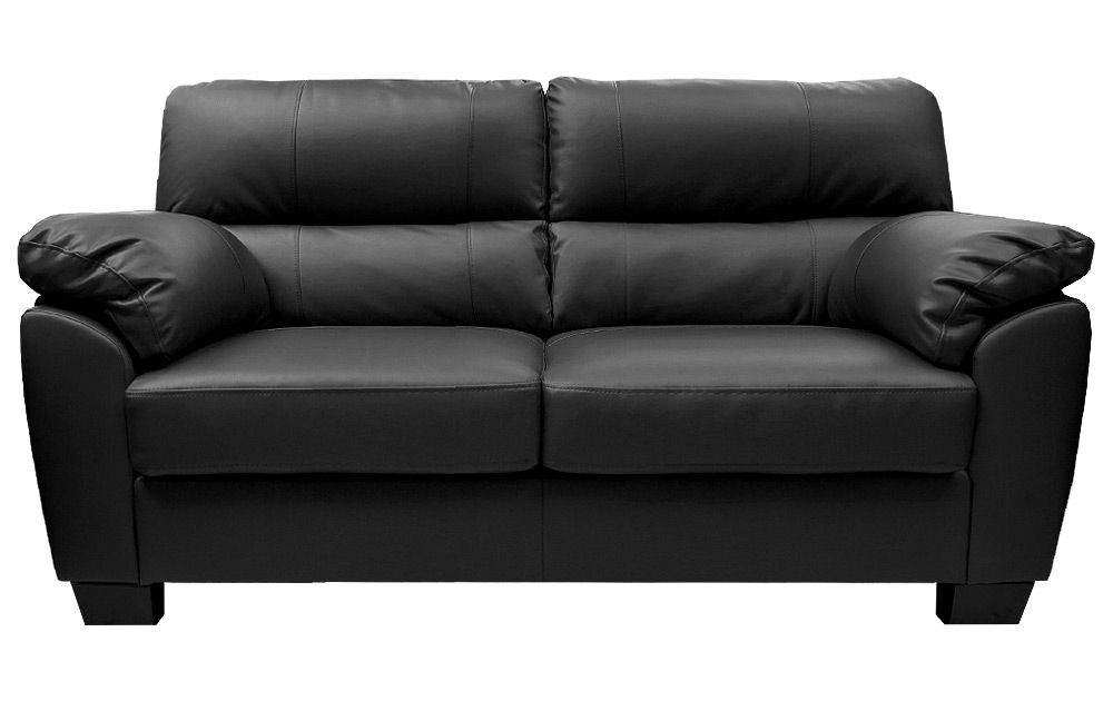 Widely Used Zara Large 3 Seater Black Leather Sofa Sofas Couch Suite Range With Cheap Black Sofas (View 6 of 10)