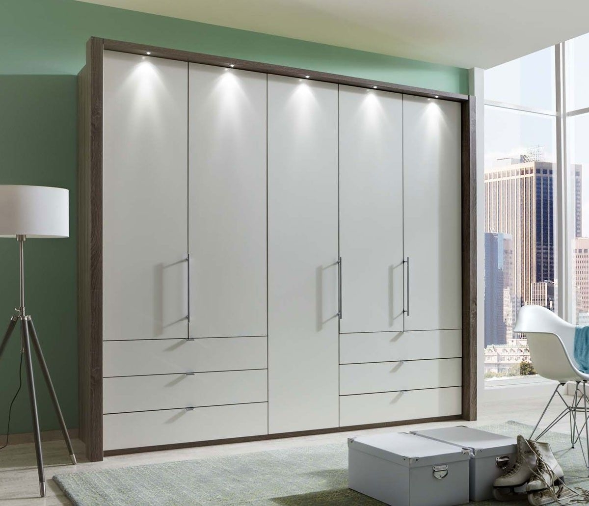 Wiemann Loft 5 Door Wardrobe With 6 Drawers With Bi Fold Panorama Throughout Preferred 5 Door Wardrobes (View 15 of 15)