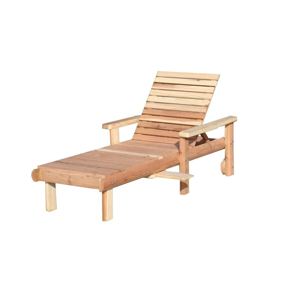 Wood Chaise Lounges In Most Up To Date Wood – Outdoor Chaise Lounges – Patio Chairs – The Home Depot (View 10 of 15)