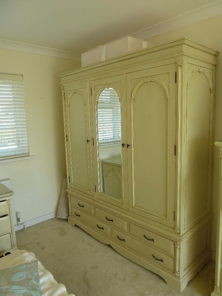 Wood French Armoire Shabby Chic Cream 3 Door Wardrobe With Mirror Inside Well Known Cream French Wardrobes (View 15 of 15)