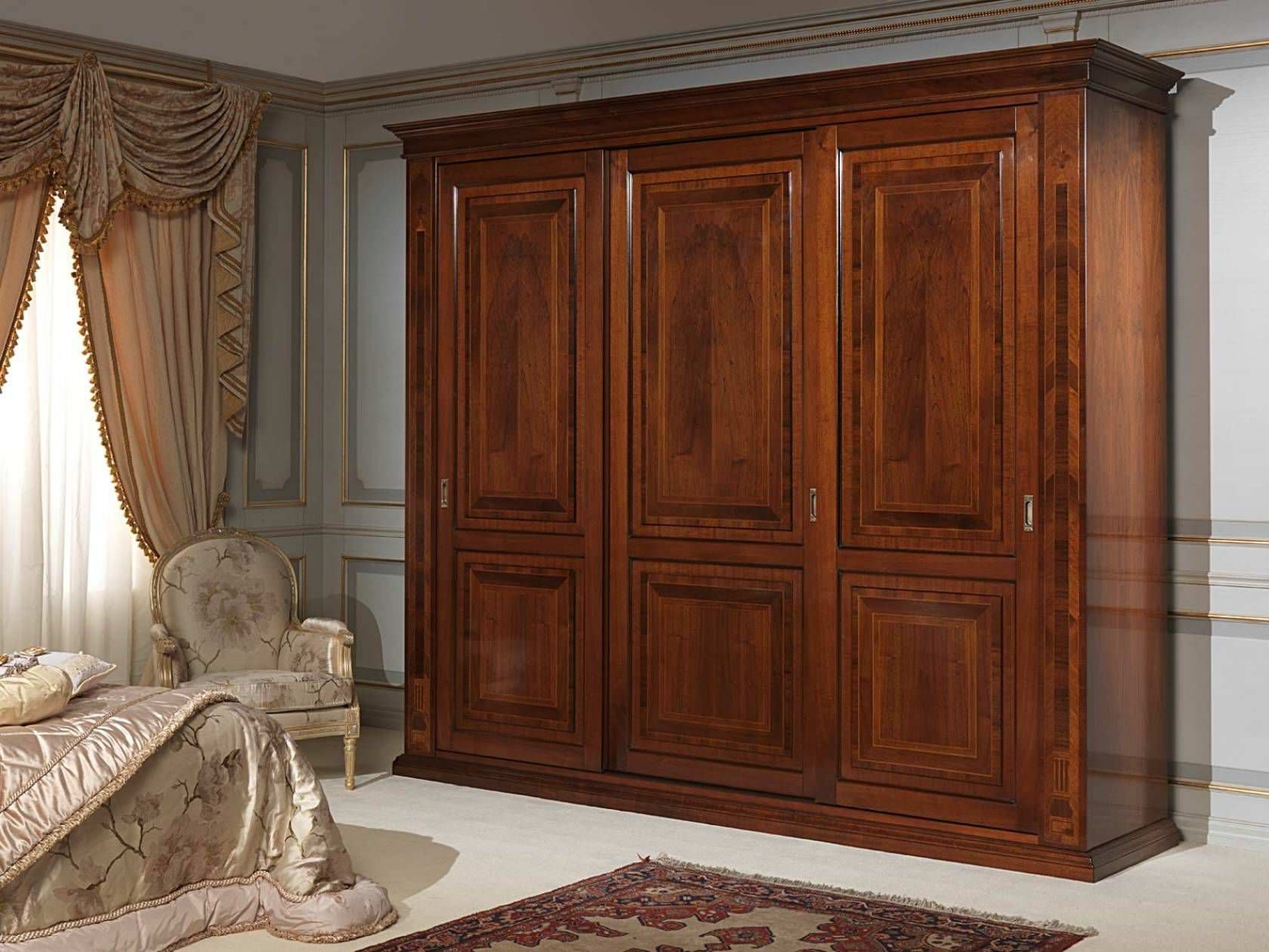 Wooden Wardrobes Throughout Well Known Classic Wardrobe / Wooden / Sliding Door – French 19Th Century (View 8 of 15)