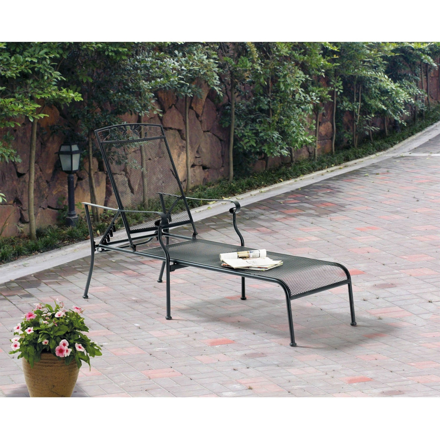 Wrought Iron Outdoor Chaise Lounge Chairs Regarding Most Current Mainstays Jefferson Wrought Iron Chaise Lounge, Black – Walmart (View 14 of 15)