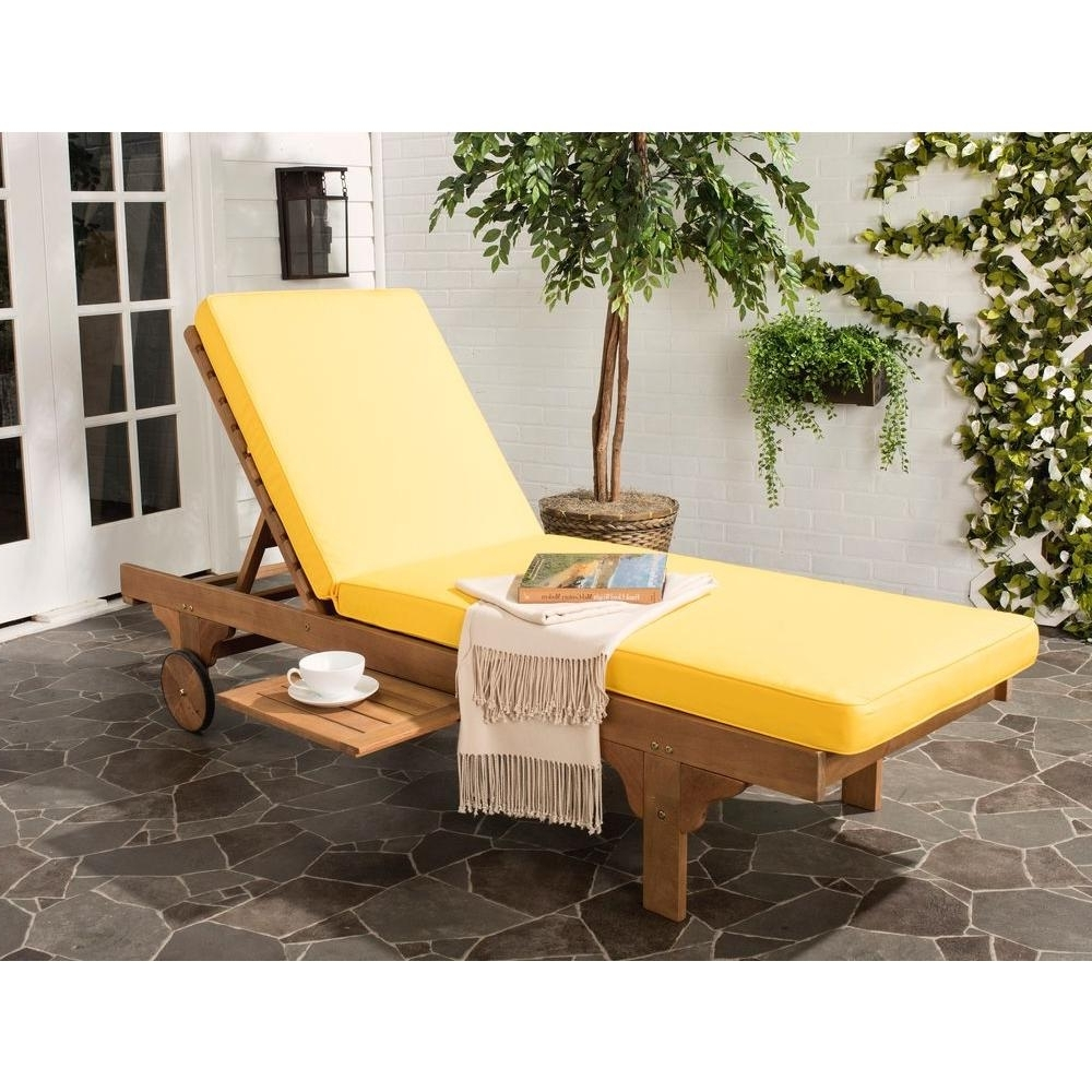 Yellow Chaise Lounge Chairs Intended For Most Up To Date Safavieh Newport Teak Brown Outdoor Patio Chaise Lounge Chair With (View 11 of 15)
