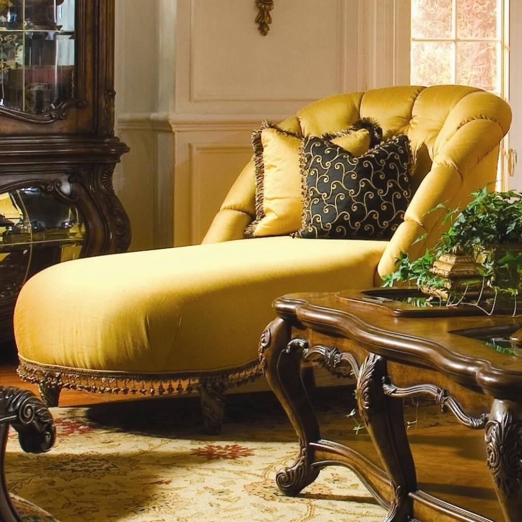 Yellow Chaise Lounge Chairs With Latest Furniture: Oversized Yellow Tufted Chaise Bench With Two Floral (View 12 of 15)