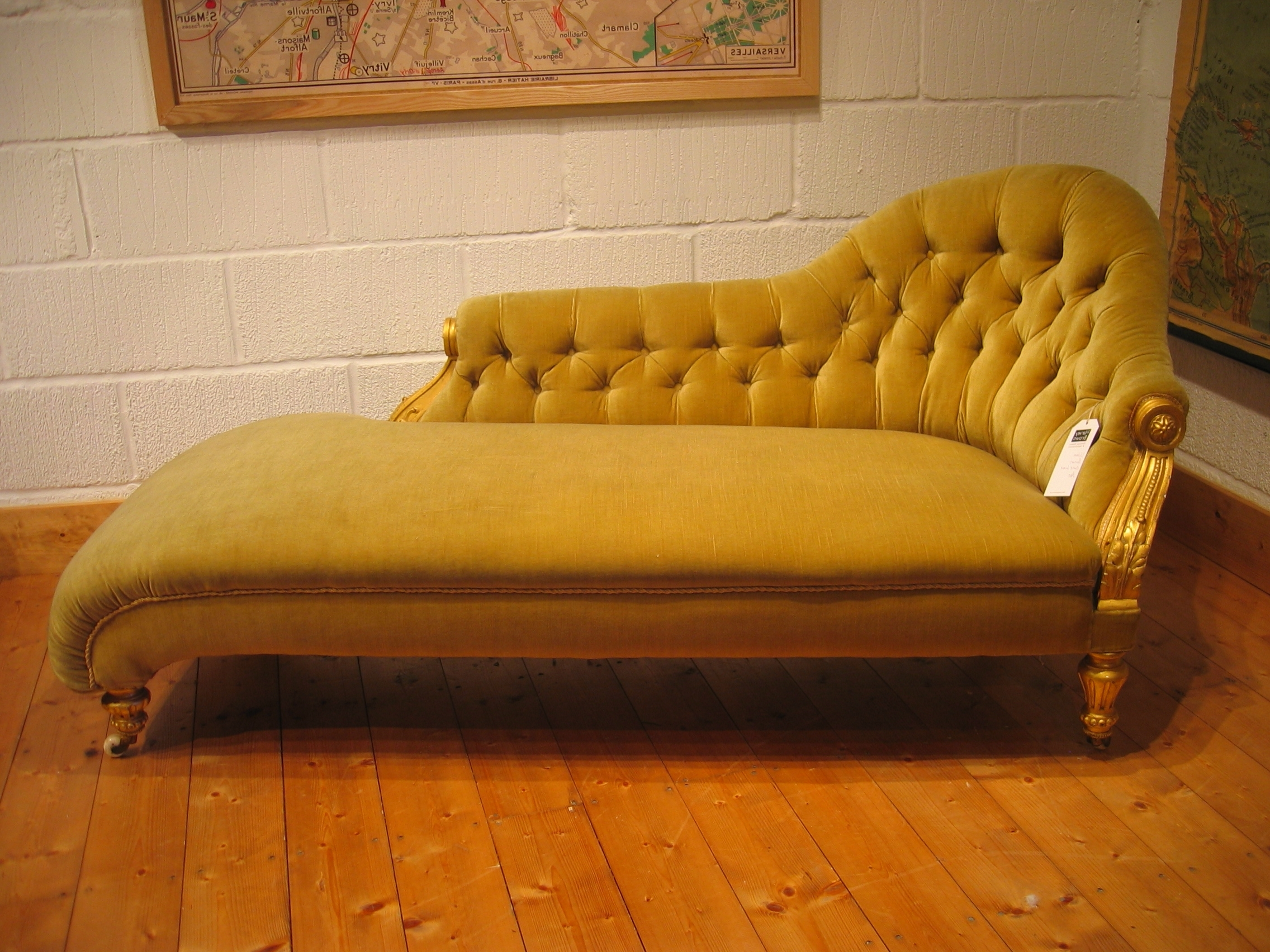 Yellow Color Antique Victorian Chaise Lounge Sofa Bed With Wooden Pertaining To Fashionable Vintage Chaise Lounges (View 15 of 15)