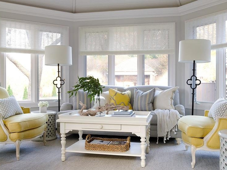 Yellow Sofa Chairs Regarding Well Liked Yellow And Gray Sunroom With Suzanne Kasler Quatrefoil Floor Lamps (Gallery 3 of 10)