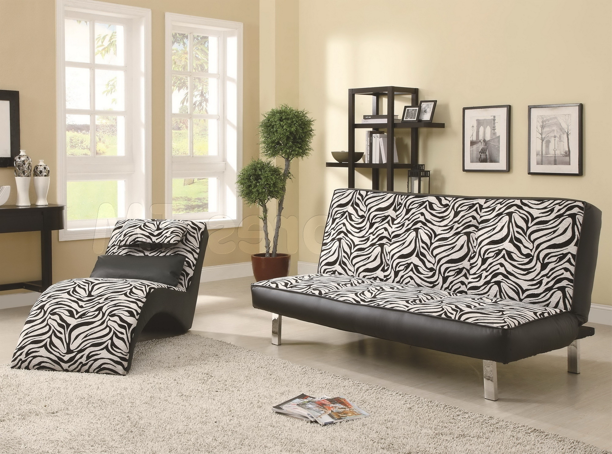 Zebra Print Chaise Lounge Chairs Inside 2018 Black White Zebra Leather Chaise Lounge Chair On Mocha Fur Rug (View 11 of 15)