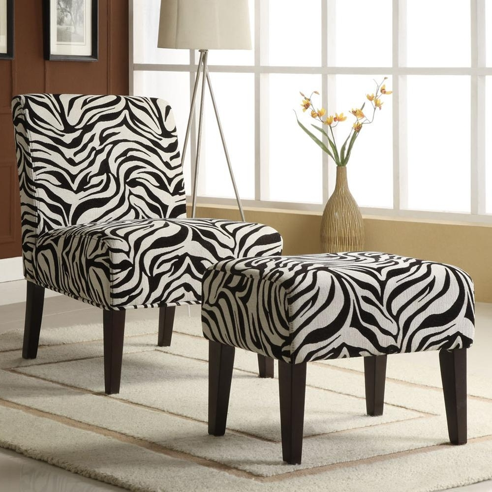 Zebra Print Chaise Lounge Chairs Within Newest Decor Zebra Print Lounge Chair And Ottoman Set Shipping  (View 15 of 15)