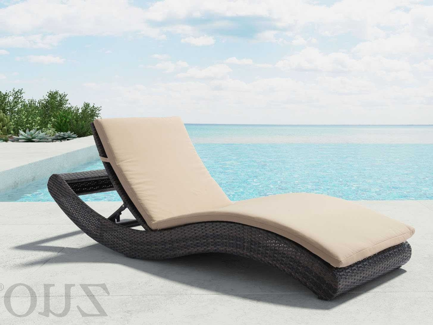 Zuo Outdoor Pamelon Beach Aluminum Wicker Beach Chaise Lounge In Pertaining To Most Current Beach Chaise Lounges (View 15 of 15)
