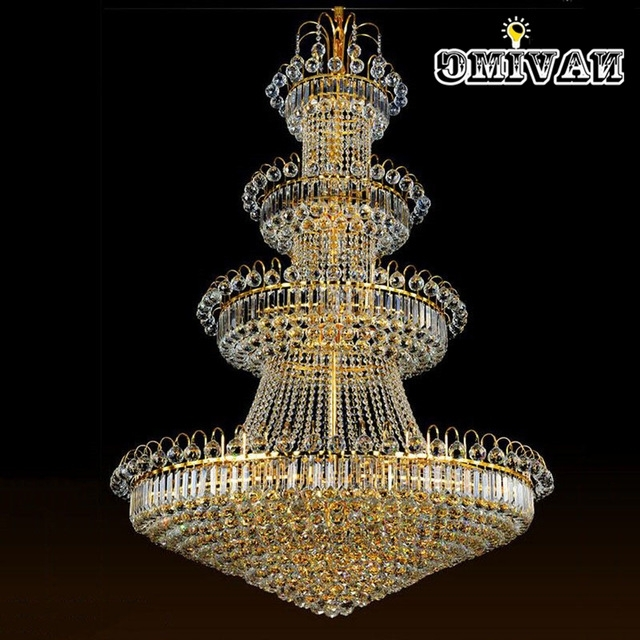 100Cm Luxury Big Europe Large Gold Luster Crystal Chandelier Light Regarding Most Up To Date Big Crystal Chandelier (Gallery 6 of 10)