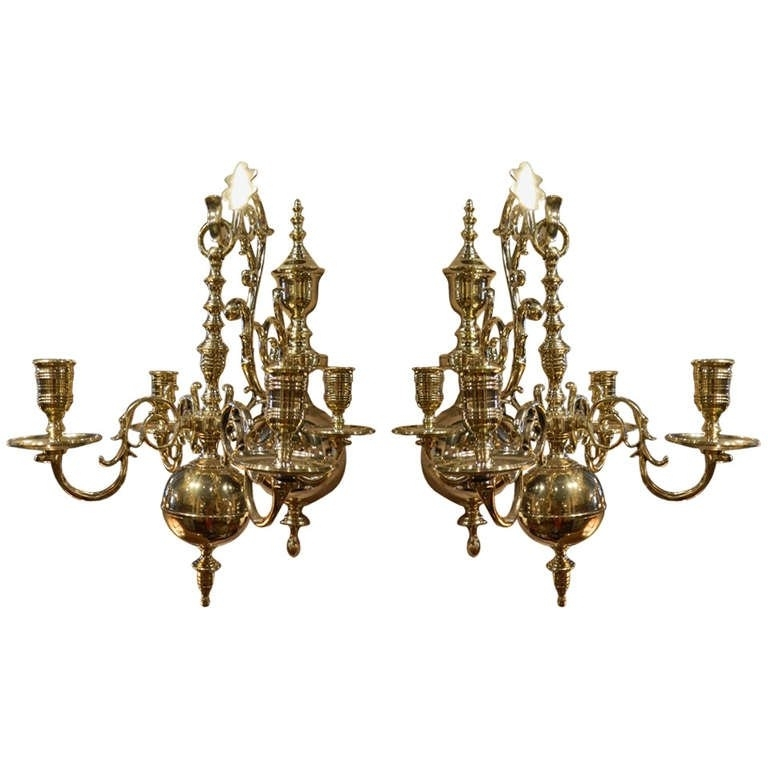 19Th Century Pair Of Four Brass Candle Chandelier Wall Sconces At Throughout Most Popular Wall Mounted Candle Chandeliers (View 1 of 10)