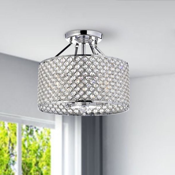2017 4 Light Chrome Crystal Chandeliers With Regard To Chrome/ Crystal 4 Light Round Ceiling Chandelier – Overstock (View 1 of 10)