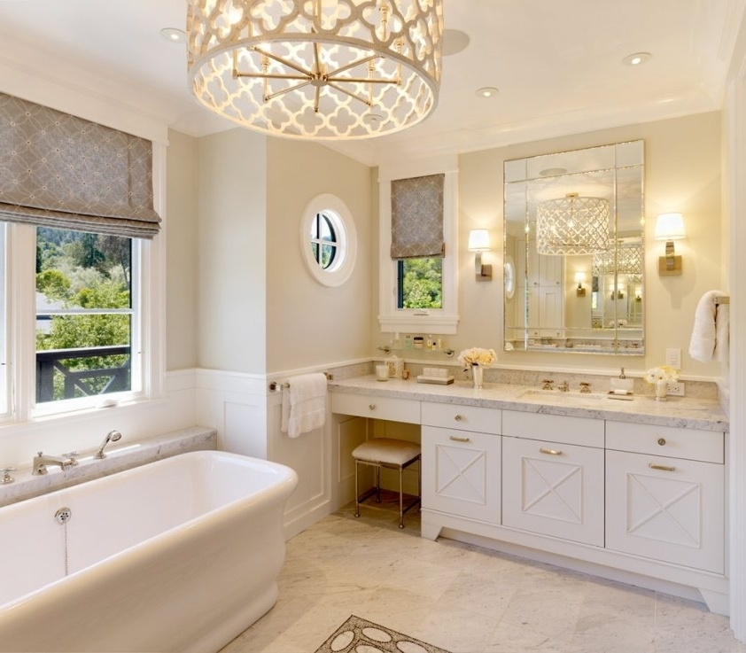 2017 Bathroom Lighting With Matching Chandeliers Pertaining To Bathroom Light Fixtures Chandeliers (View 1 of 10)