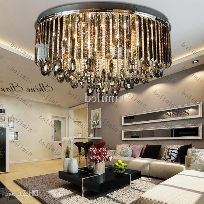 2017 Chandelier Lights For Living Room Pertaining To Luxury Living Room Grey Crystal Ceiling Lights Lamp Fixtures (View 1 of 10)