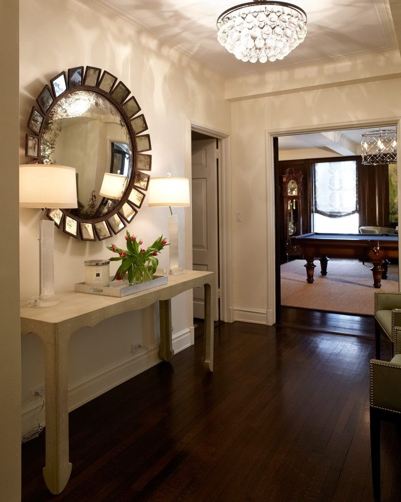 2017 Chandelier Mirror Throughout Delightful Crystal Chandelier Remodeling Ideas With Round Wall (View 10 of 10)