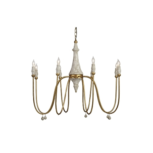 2017 Gabby Home Clay Vintage Gold And Distressed Ivory Eight Light Regarding Gabby Chandelier (View 2 of 10)