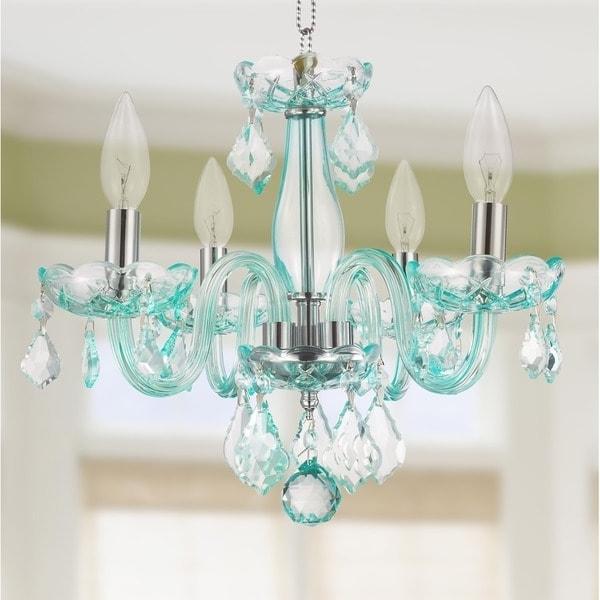 2017 Glamorous 4 Light Full Lead Turquoise Blue Crystal Chandelier Regarding Turquoise Crystal Chandelier Lights (View 6 of 10)