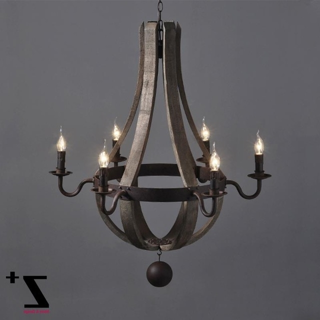 2017 Industrial Vintage Wrought Iron Metal Iron Wood Chandelier 6 Lights Intended For Metal Ball Chandeliers (View 6 of 10)