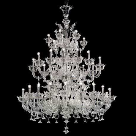 """2017 Large Glass Chandelier Within Casanova"""" Large Three Tier Murano Glass Chandelier With Rings (View 5 of 10)"""